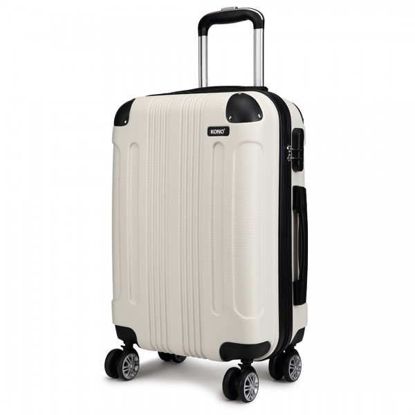 K1777 - Kono 20 Inch ABS Hard Shell Suitcase Luggage - Beige