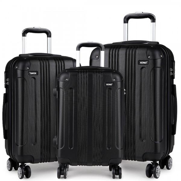 K1777 - Kono 20-24-28 Inch ABS Hard Shell Suitcase 3 Pieces Set Luggage - Black