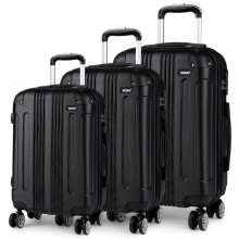 K1777 - Kono 20-24-28 Inch ABS Hard Shell Suitcase 3 Pieces Set Luggage - Black