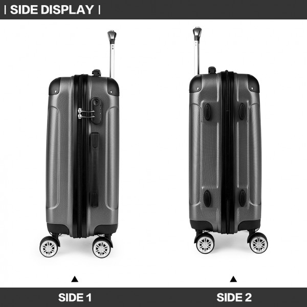 K1777 - Kono 20-24-28 Inch ABS Hard Shell Suitcase 3 Pieces Set Luggage - Grey