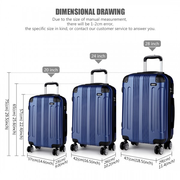 K1777 - Kono 20-24-28 Inch ABS Hard Shell Suitcase 3 Pieces Set Luggage - Navy