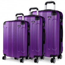 K1777 - Kono 20-24-28 Inch ABS Hard Shell Suitcase 3 Pieces Set Luggage - Purple