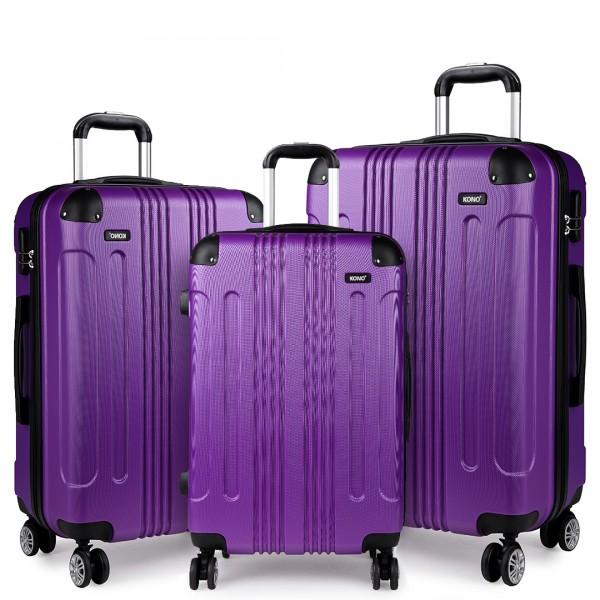 K1777 - Kono 20-24-28 Inch ABS Hard Shell Suitcase 3 Pieces Set Luggage - Purple