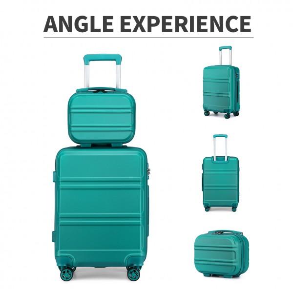 K1871-1L - Kono ABS 4 Wheel Suitcase Set with Vanity Case - Teal