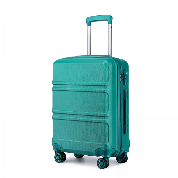 K1871-1L - Kono ABS 20 Inch Sculpted Horizontal Design Cabin Luggage - Teal