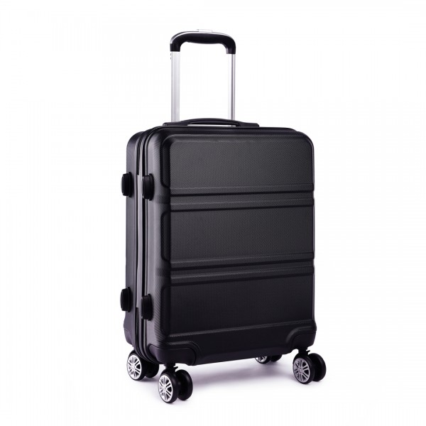 K1871-1L - Kono ABS Sculpted Horizontal Design 24 Inch Suitcase - Black