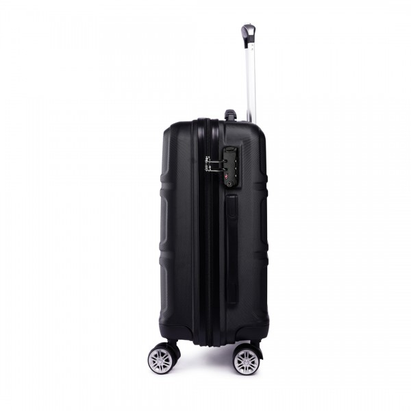 K1871-1L - Kono ABS Sculpted Horizontal Design 28 Inch Suitcase - Black