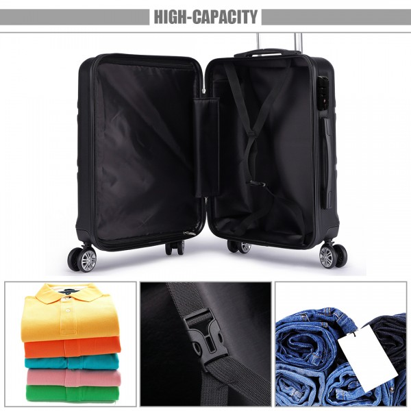 K1871-1L - Kono ABS Sculpted Horizontal Design 3 Piece Suitcase Set - Black