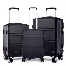 K1871-1L - Kono ABS Wyprofilowane poziome wzornictwo 3-częściowy zestaw walizek - Czarny