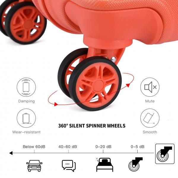 K1871-1L - Kono ABS 4 Wheel Suitcase Set with Vanity Case - Coral