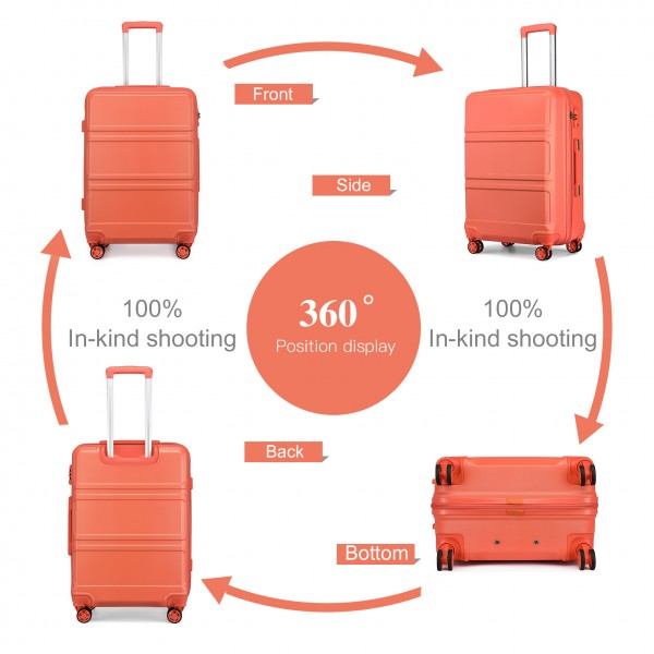 K1871-1L - Kono ABS 20 Inch Sculpted Horizontal Design Cabin Luggage - Coral