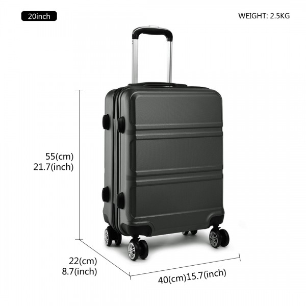 K1871-1L - Kono ABS Sculpted Horizontal Design 20 Inch Cabin Luggage - Grey