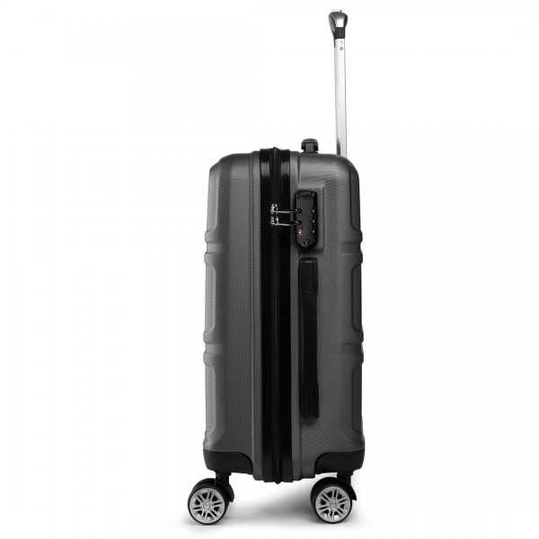 K1871-1L - Kono ABS Sculpted Horizontal Design 24 Inch Suitcase - Grey