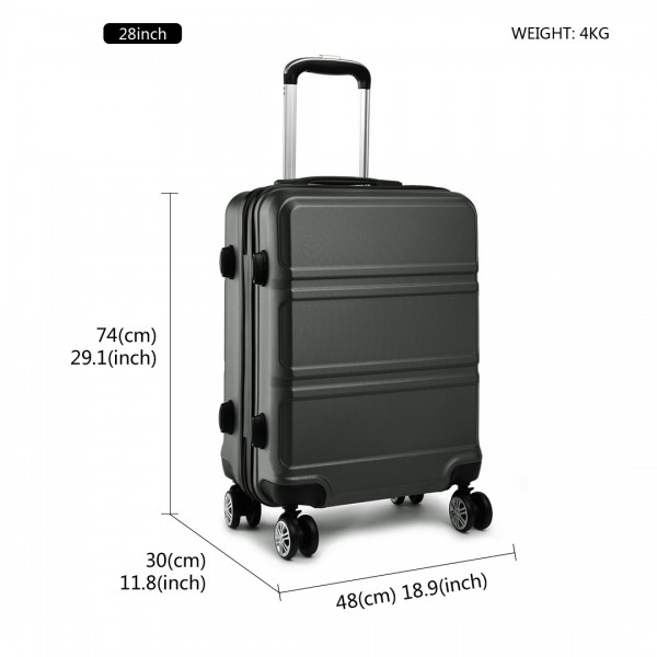 K1871-1L - Kono ABS Sculpted Horizontal Design 28 Inch Suitcase - Grey