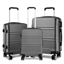 K1871-1L - Kono ABS Diseño horizontal esculpido Juego de maletas de 3 piezas - Gris