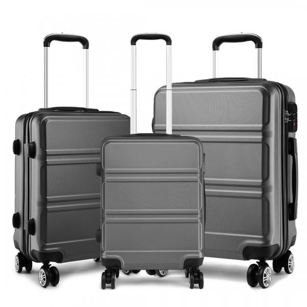 K1871-1L - Kono ABS Sculpted Horizontal Design 3 Piece Suitcase Set - Grey