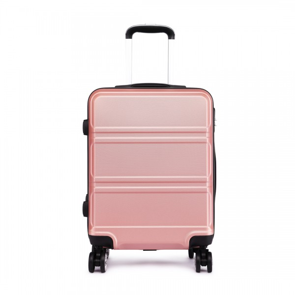 K1871-1L - Kono ABS Sculpted Horizontal Design 24 Inch Suitcase - Nude
