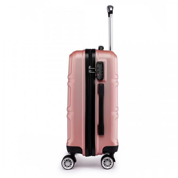 K1871-1L - Kono ABS Sculpted Horizontal Design 20 Inch Cabin Luggage - Nude