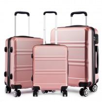 K1871-1L - Kono ABS Wyprofilowane poziome wzornictwo 3-częściowy zestaw walizek - nago