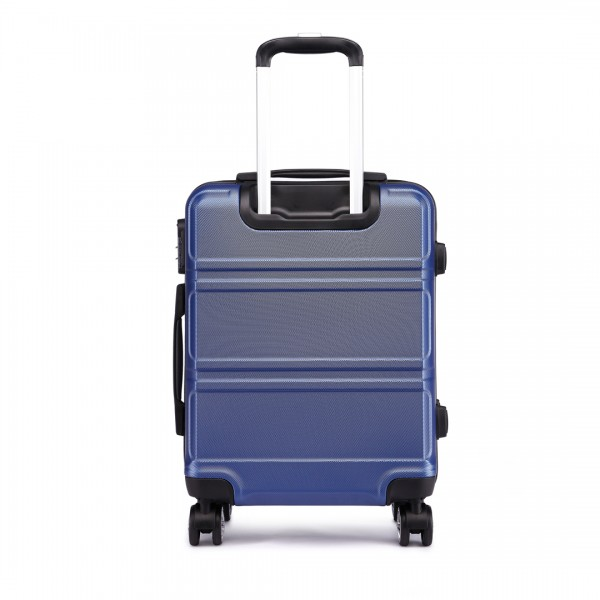 K1871-1L - Kono ABS Sculpted Horizontal Design 3 Piece Suitcase Set - Navy Blue