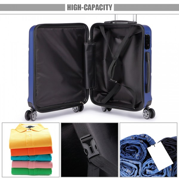 K1871-1L - Kono ABS Sculpted Horizontal Design 28 Inch Suitcase - Navy Blue