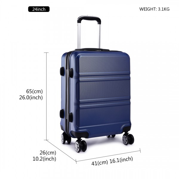 K1871-1L - Kono ABS Sculpted Horizontal Design 24 Inch Suitcase - Navy Blue