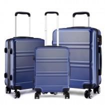 K1871-1L - Kono ABS Wyprofilowane poziome wzornictwo 3-częściowy zestaw walizek - Ciemnoniebieski