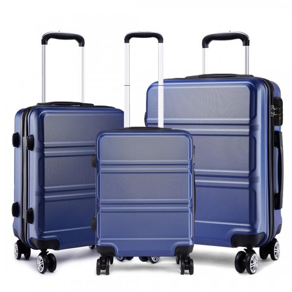 K1871-1L - Kono ABS Sculpted Horizontal Design 3 Piece Suitcase Set - Navy Blue