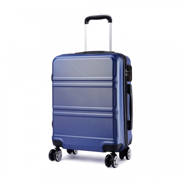K1871-1L - Kono ABS Sculpted Horizontal Design 20 Inch Cabin Luggage - Navy Blue