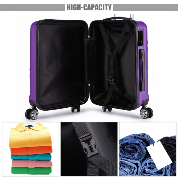 K1871-1L - Kono ABS Sculpted Horizontal Design 24 Inch Suitcase - Purple