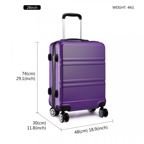 K1871-1L - Kono ABS Sculpted Horizontal Design 3 Piece Suitcase Set - Purple