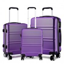K1871-1L - Kono ABS Wyprofilowane poziome wzornictwo 3-częściowy zestaw walizek - Fioletowy