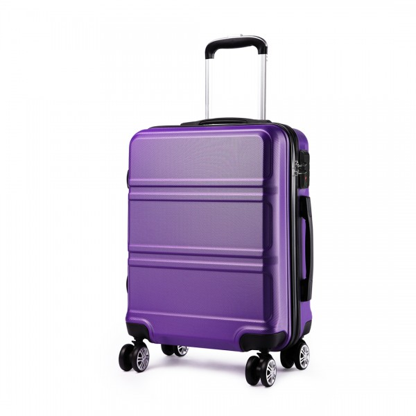 K1871-1L - Kono ABS Sculpted Horizontal Design 20 Inch Cabin Luggage - Purple