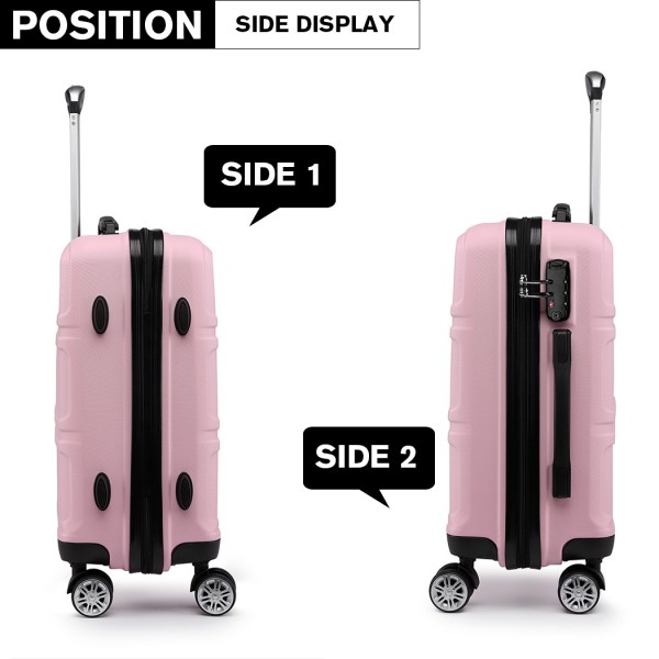 K1871-1L - Kono ABS Sculpted Horizontal Design 20 Inch Cabin Luggage - Pink
