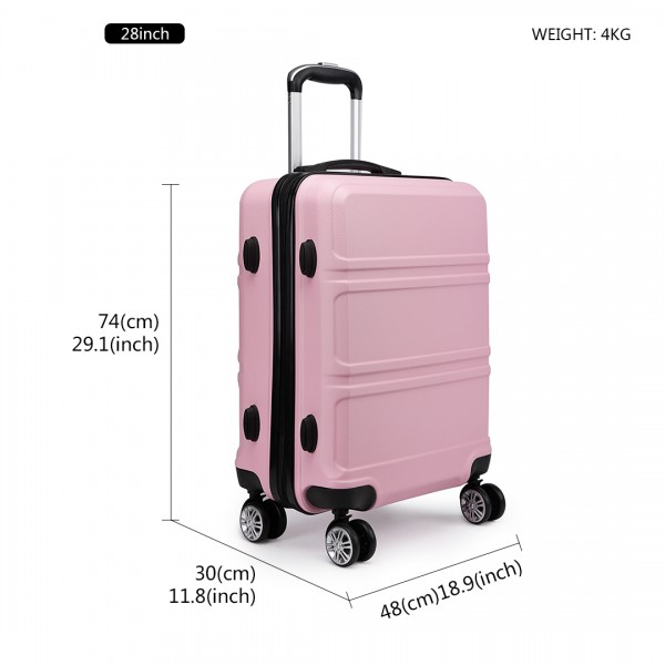 K1871-1L - Kono ABS Sculpted Horizontal Design 28 Inch Suitcase - Pink
