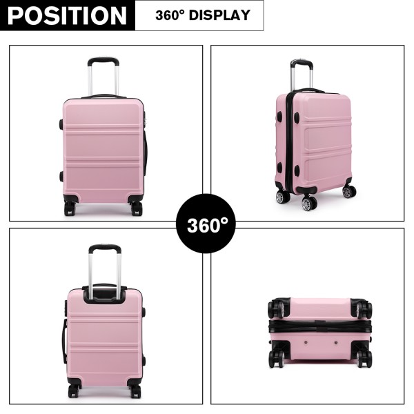 K1871-1L - Kono ABS Sculpted Horizontal Design 24 Inch Suitcase - Pink