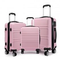 K1871-1L - Kono ABS Design orizontal sculptat Set de valize 3 bucăți - Roz