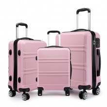 K1871-1L - Kono ABS Sculpted Horizontal Design 3 Piece Suitcase Set - Pink
