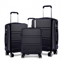 K1871L-Hard Shell Cabin ABS Suitcase 3 Pieces Set with Spinning Wheels Luggage Black