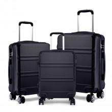 K1871L-Hard Shell Cabin ABS Koffer 3 Stück Set mit Spinnrädern Gepäck Schwarz