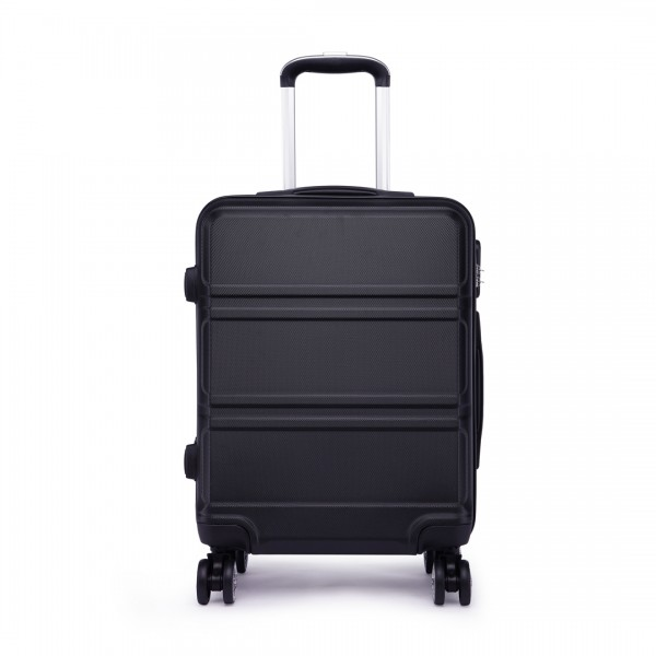 K1871L-Hard Shell Cabin ABS Suitcase with Spinning Wheels Luggage Black 24''