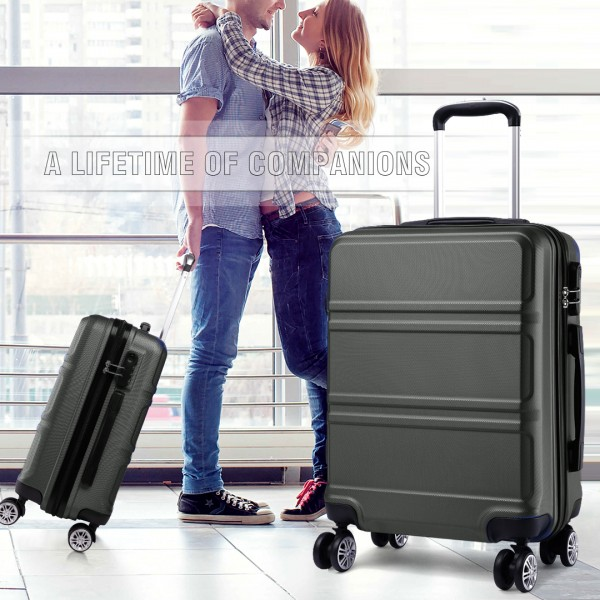 K1871L-Hard Shell Cabin ABS Suitcase with Spinning Wheels Luggage Grey 24''