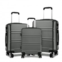 K1871L-Hard Shell Cabin ABS Suitcase 3 Pieces Set with Spinning Wheels Luggage Grey