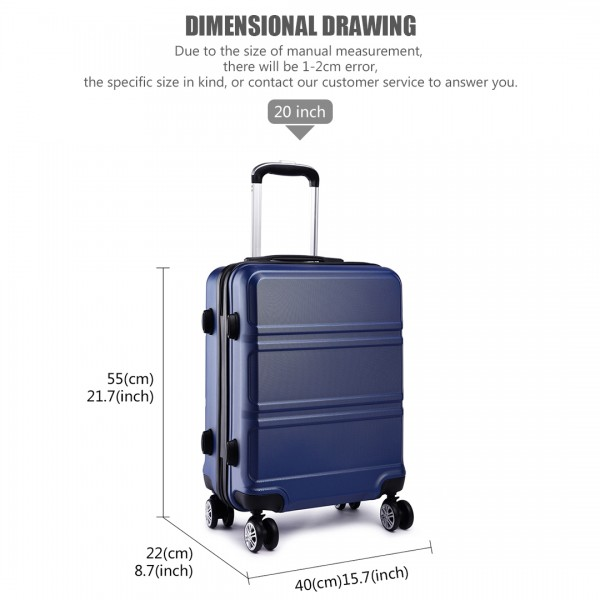 K1871L-Hard Shell Cabin ABS Suitcase 3 Pieces Set with Spinning Wheels Luggage Navy