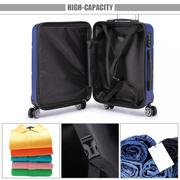 K1871L-Hard Shell Cabin ABS Suitcase with Spinning Wheels Luggage Navy 20''