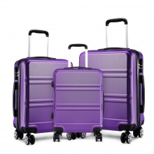 K1871L-Hard Shell Cabin ABS Suitcase 3 Pieces Set with Spinning Wheels Luggage Purple