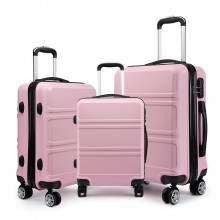 K1871L-Hard Shell Cabin ABS Suitcase 3 Pieces Set with Spinning Wheels Luggage Pink