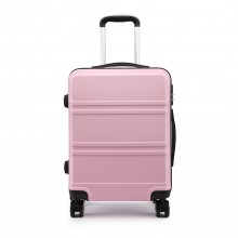K1871L-Hard Shell Cabin ABS Suitcase with Spinning Wheels Luggage Pink 20''