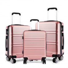 K1871L-Hard Shell Cabin ABS Suitcase 3 Pieces Set with Spinning Wheels Luggage Nude