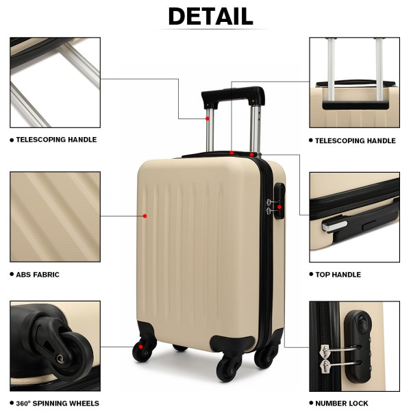 K1872L-KONO ABS HARD SHELL SUITCASE 3 PIECES SET WITH SPINNING WHEELS LUGGAGE BEIGE